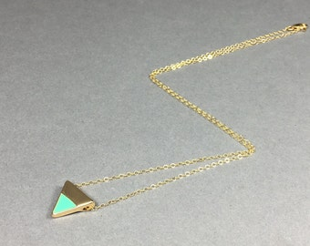 Mint and Gold Triangle Enamel Necklace