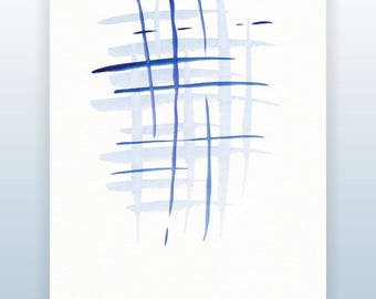 Abstract art. Blue watercolor sketch. Modern home decor. Minimalist brush drawing. Brush strokes.