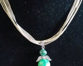 Green fairy pendant necklace
