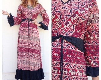 SHOP SALE Vintage Ethinc Insia Elephant Maxi Dress