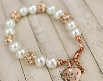 Rose Gold Flower Girl Bracelet Flower Girl Jewelry Rose Gold Pearl Set Rose Gold Pearl Jewelry Set Rose Gold Flower Girl Bracelet Mini Bride