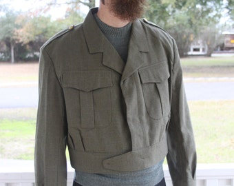 1960's 70's Belgian Military IKE Style Jacket / Cropped / Wool / Olive Green / Available in 3 Sizes