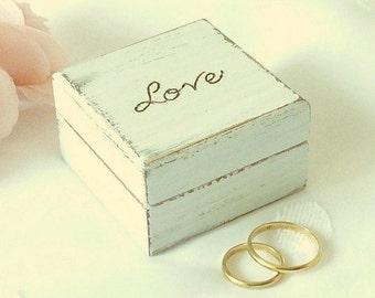 Wedding Ring Bearer Box, Rustic chic Ring Pillow Beach Wedding Ring Box, Wood Ring Box