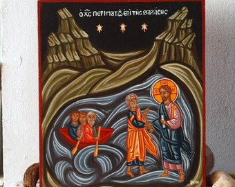 Jesus walking on water-Byzantine icon of Christ saving St Peter - Contemporary religious art sacred iconography agiography of Greece