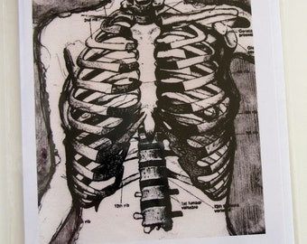 On the Inside - Blank Card with Skeleton Drawing Print