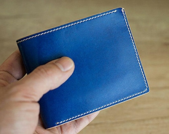 Blue Leather Bifold Wallet, Vegetable Tanned Classical Deluxe Bifold