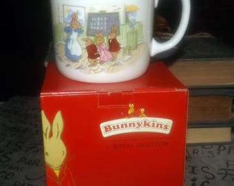 Vintage (mid 1990s) Royal Doulton Bunnykins baby | child | toddler cup | hug-a-mug.  Bunnies in math class! Doulton gift box included.