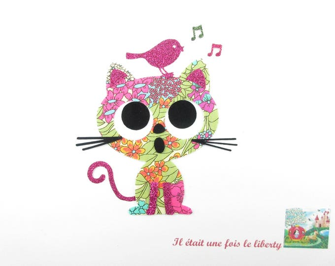 Iron on patch applique liberty fusing cat and bird liberty Ciara and sequined fabric, applied liberty, liberty patch