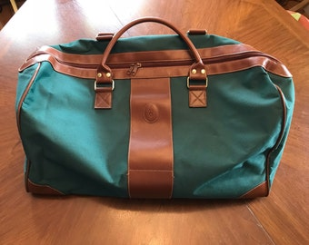 Vintage Polo Green Canvas 2 Handeled Duffel Bag Carry On Luggage