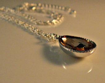 Silver Necklace,Crystal necklace,silver crystal necklace,peach necklace,crystal,crystal pendant,peach pendant, necklace,pendant,peach
