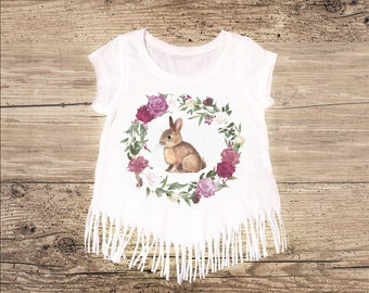 Purple Floral Easter Bunny Shirt with Fringe