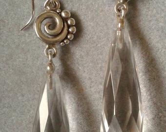 Long Sterling Silver Spiral Clear Crystal Quartz Dangle Earrings