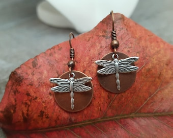 Dragonfly Earrings - Silver Dragonfly Copper Disc Earrings - Dragonfly Jewelry, Gift for her, jingsbeadingworld inspired by nature, for her