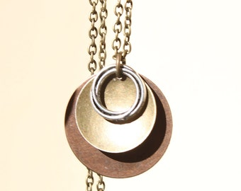 Boho Pendant Necklace Mixed Metal Necklace Pendant Boho Necklace Bohemian Necklace Copper Necklace Pendant Boho Jewelry Bohemian Jewelry