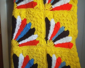 Vintage Yellow Afghan with Fan Design ~ Colorful BOHO