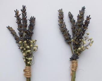 Dried Lavender & Gypsophila Buttonhole Pair, boutonniere, rustic wedding, grooms buttonhole, country wedding, natural wedding