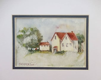 Original Watercolor, country watercolor, country scene