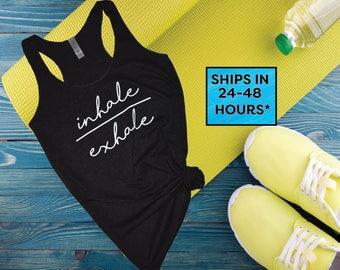 Namaste tank top shirt   yoga tank top shirt   cute yoga shirt   trendy yoga shirt   Inhale Exhale   yoga workout shirt (19)