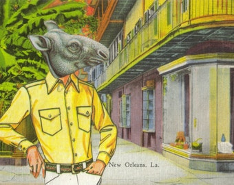New Orleans Art, The Big Easy, Anthropomorphic Artwork, New Orleans Postcard, Louisiana Art, Funny Gift, Original Collage
