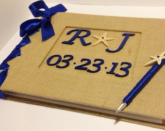 Rustic Wedding Guest Book - Personalized Monogram Date - Burlap GuestBook - Beach Guestbook - Starfish Guestbook - (Custom Colors Available)