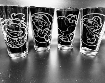 4 Geeky Etched Geeky Pub Glasses of your choice