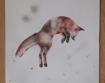 Watercolor fox jumping print