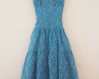 SALE - Stunning 1950s Periwinkle Blue Dress