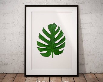 Monstera, Monstera Leaf Print, Monstera Leaf Art Print, Monstera Leaf Wall Art, Tropical Leaf Decor, Printable Monstera Leaf Poster, Plant