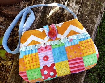 Toddler Patchwork Purse, Girl's  Purse with Matching Coin Purse, Girl's Chevron Purse, Easter Purse