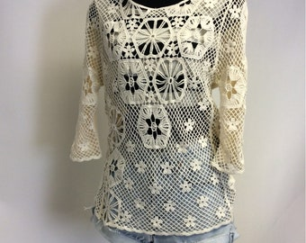 Sheer Handmade Ecru Cotton Crocheted Vintage Lace Tee shirt L