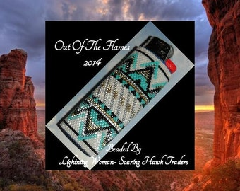 Bead PATTERN Sante Fe Lighter Cover Peyote Brick Stitch