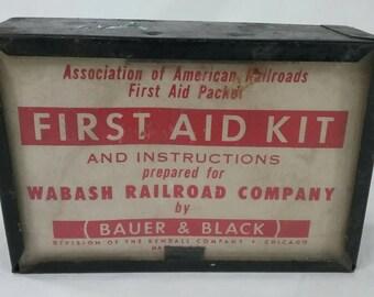 Vintage Wabash railroad first aid kit