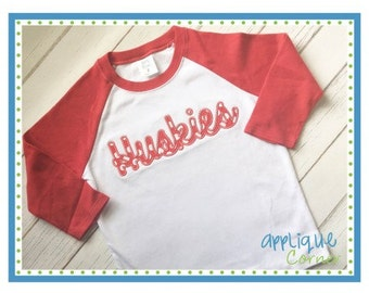 Personalized Huskies Football Applique Shirt or Bodysuit