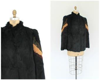 vintage 1970s black rabbit fur coat | vtg 70s stripe boxy fur coat | medium