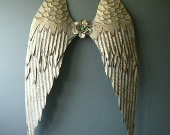 Gold Metal Angel Wings wall decor. Rustic gold.