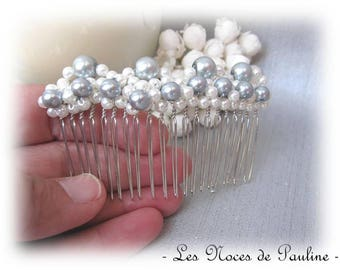 Grey white wedding pearls silver hair comb
