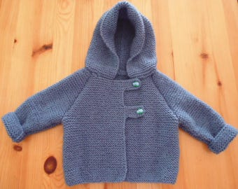 Blue hand knitted baby jacket size 3 months