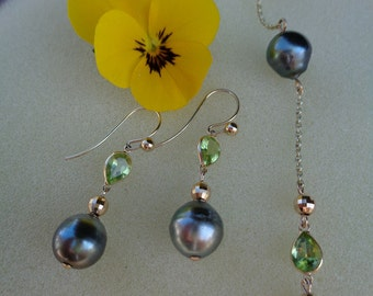 Gold Earrings with Tahitian Pearl and genuine Peridot, gold 585 (14 K)