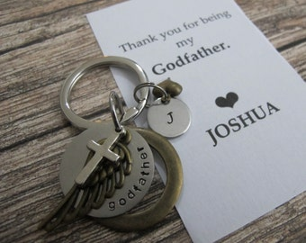 Godfather Gift - Godfather Thank you Card - Personalized initial keychain - Godparent Gift KeyChain - Baptism Gift Idea -Christening gift