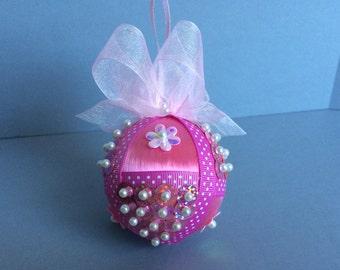 Pink Polka Dot Sequin Christmas Ornament/Handmade