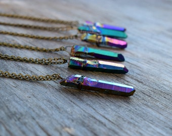 Rainbow Titanium Crystal Necklace, Wire Wrapped Titanium Quartz Crystal Antique Bronze Chain, Layering Necklace, Rainbow Raw Crystal Pendant