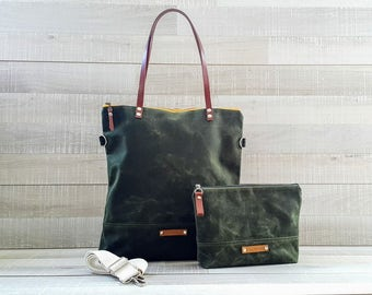 on sale!! Waxed Canvas Tote Bag, UNISEX Tote Bag, DARK FOREST GReEN, Waterproof Tote Bag, Leather Straps, Women Bag, Men Bag, Laptop Bag