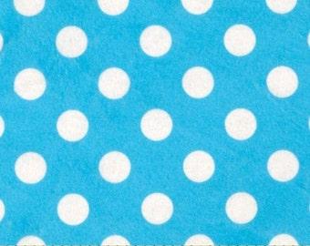"Minkey print Minnie Dots, Turquoise w/white dots, 60"" wide, yard"