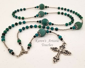 Chrysocolla, Black Onyx, Blue Agate Gemstone Stainless Steel Rosary Necklace