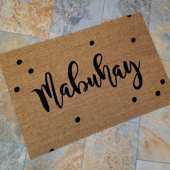 Philippine Greeting / Mabuhay Doormat / Custom Doormat / Door Mats / Wedding Gift Idea / Gift for Couple's / Family Gift / Unique Gift Ideas