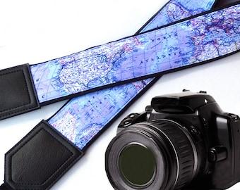 DSLR Camera Strap. World Map Camera Strap. Camera accessories. Gift for photographer.