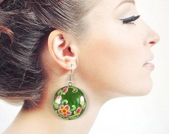 wedding green Earrings handmade wooden jewelry Folk art painting pink green Sister Gift ideas for women wood earrings flower girlfriend gift