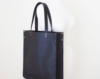 Black Leather Tote, Minimal Leather Tote, Leather Shopper Tote, Leather Laptop Tote, Black Leather Tote with Zipper, Everyday Shoulder Bag