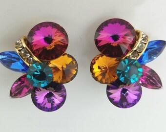 Wildly Colorful Rhinestone Clip-Ons, Vintage 1960's