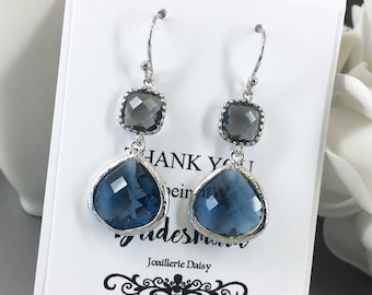 Dangle Earrings Navy and Gray Bridesmaid Jewelry Earrings Glass Drop Bridesmaid Gifts Gray and Navy Wedding Gift for Her Mother in Law Gift